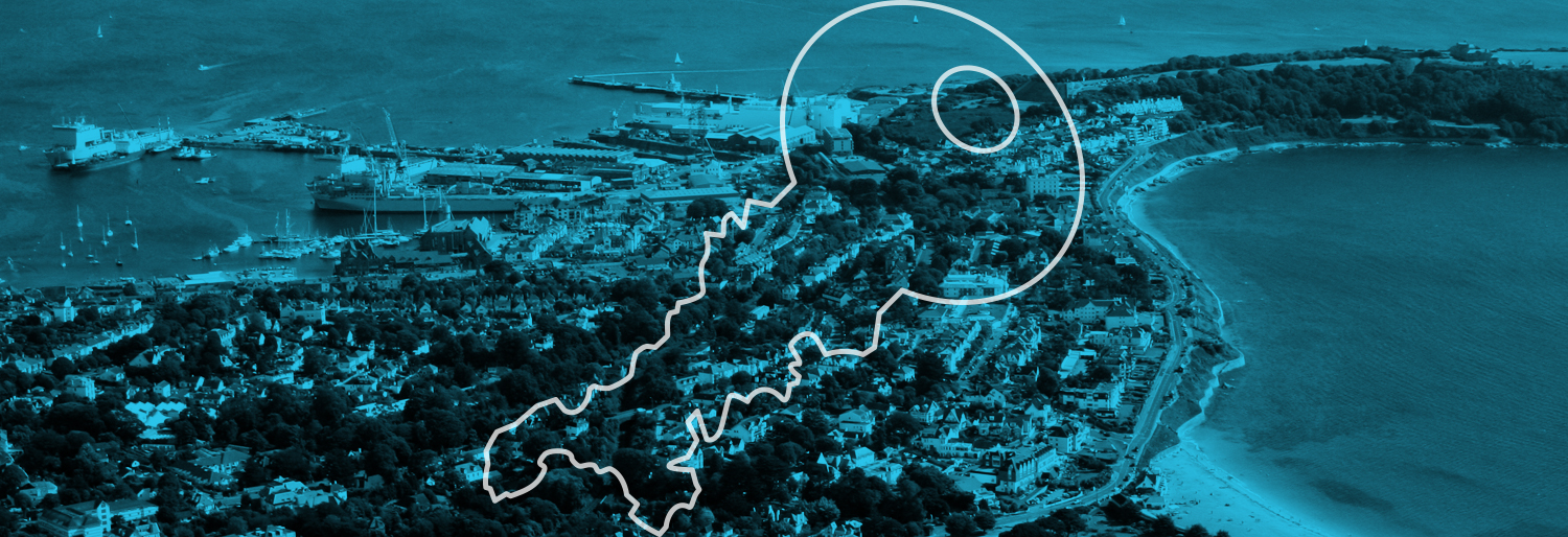Locksmith Falmouth page illustration; a picture of Falmouth with St Piran's Locksmiths logo embedded.